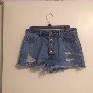 Forever 21 Ripped Denim Shorts